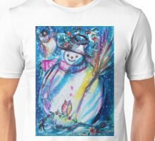 Snowman With Owl In Winter Unisex T-Shirt