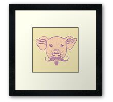 Sketch Pig with Mustache Framed Print