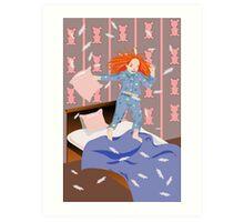 girl jumps on bed Art Print