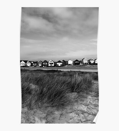 Beach Huts over the Dune Poster