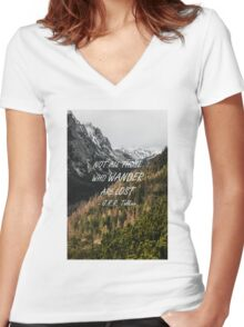 Not all those who wander Women's Fitted V-Neck T-Shirt