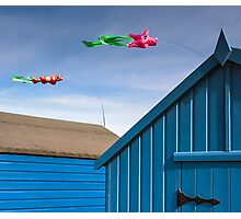 Windsocks and Beach huts Photographic Print
