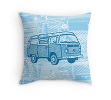 Blue Bay Campervan Dub-U (please see description) Throw Pillow