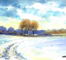 WINTER LANDSCAPE - AQUAREL by RainbowArt