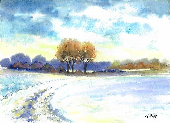 WINTER LANDSCAPE - AQUAREL by RainbowArt
