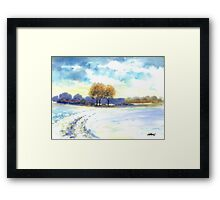 WINTER LANDSCAPE - AQUAREL Framed Print