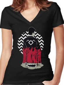 Black Lodge Women's Fitted V-Neck T-Shirt