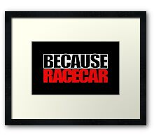 Because Racecar Framed Print