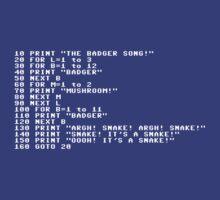 Badger Ad Infinitum - White Text by M Dean Jones