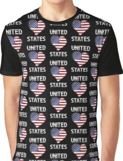 United States - American Flag Heart & Text - Metallic Graphic T-Shirt
