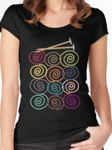 Colorful yarn balls with knitting needles Women's Fitted Scoop T-Shirt