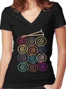 Colorful yarn balls with knitting needles Women's Fitted V-Neck T-Shirt