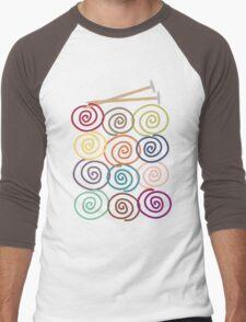 Colorful yarn balls with knitting needles Men's Baseball ¾ T-Shirt