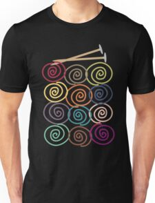 Colorful yarn balls with knitting needles Unisex T-Shirt