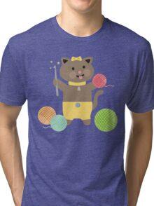 Cute kawaii kitty cat crochet hook Tri-blend T-Shirt