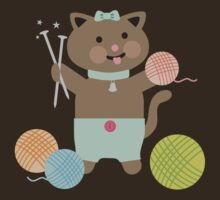 Cute kawaii kitty cat knitting needles yarn by BigMRanch