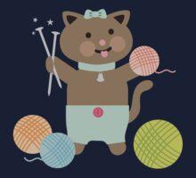 Cute kawaii kitty cat knitting needles yarn Kids Tee