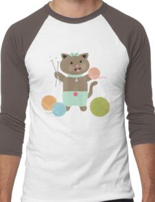 Cute kawaii kitty cat knitting needles yarn Men's Baseball ¾ T-Shirt