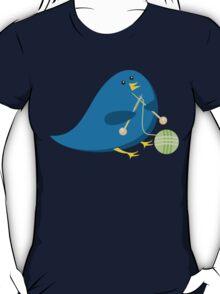 Cute knitting needles ball of yarn blue bird T-Shirt