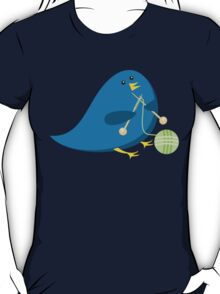 Cute knitting needles ball of yarn blue bird T-Shirt