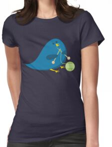 Cute knitting needles ball of yarn blue bird Womens Fitted T-Shirt