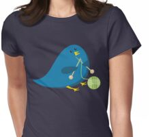 Cute knitting needles ball of yarn blue bird Womens Fitted T-Shirt