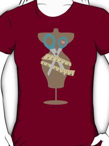 dress dummy sewing mannequin scissors brown T-Shirt