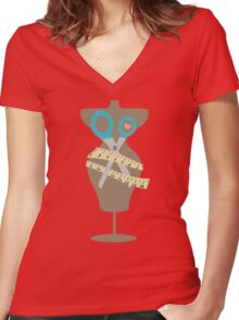 dress dummy sewing mannequin scissors brown Women's Fitted V-Neck T-Shirt