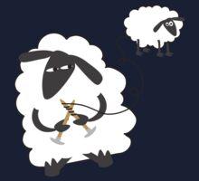 Funny sheep knitting stealing wool yarn One Piece - Short Sleeve
