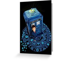 Time traveller at Arch of time Zone Greeting Card