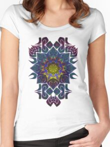 Psychedelic Fractal Manipulation Pattern on White Women's Fitted Scoop T-Shirt