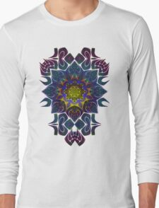 Psychedelic Fractal Manipulation Pattern on White Long Sleeve T-Shirt