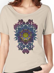 Psychedelic Fractal Manipulation Pattern on White Women's Relaxed Fit T-Shirt
