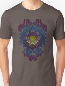 Psychedelic Fractal Manipulation Pattern on White Unisex T-Shirt