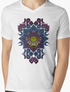 Psychedelic Fractal Manipulation Pattern on White Mens V-Neck T-Shirt