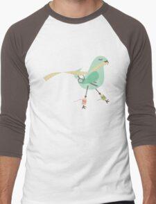 Seamstress bird sewing measuring tape blue Men's Baseball ¾ T-Shirt