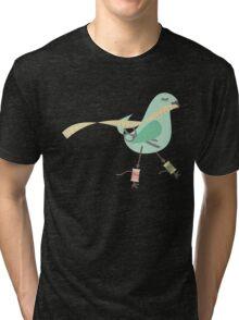 Seamstress bird sewing measuring tape blue Tri-blend T-Shirt