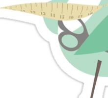 Seamstress bird sewing measuring tape blue Sticker