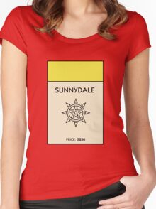 Sunnydale Monopoly (Buffy the Vampire Slayer) Women's Fitted Scoop T-Shirt