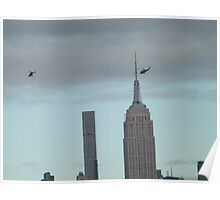 Helicopters, 432 Park Avenue Skyscraper, Empire State Building, View from Liberty State Park, New Jersey  Poster