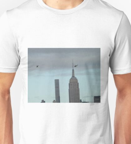 Helicopters, 432 Park Avenue Skyscraper, Empire State Building, View from Liberty State Park, New Jersey  Unisex T-Shirt