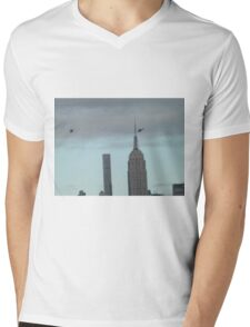 Helicopters, 432 Park Avenue Skyscraper, Empire State Building, View from Liberty State Park, New Jersey  Mens V-Neck T-Shirt