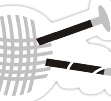 Black and white ball of yarn with knitting needles Sticker