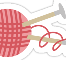 Pink ball of yarn with knitting needles Sticker