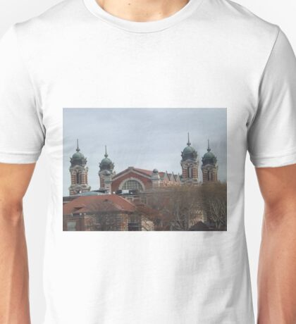 Classic Architecture, Ellis Island, View from Liberty State Park, New Jersey Unisex T-Shirt