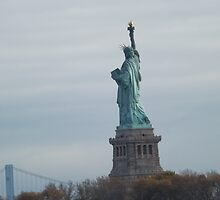 Historic Statue of Liberty, Liberty Island, View from Liberty State Park, New Jersey  by lenspiro