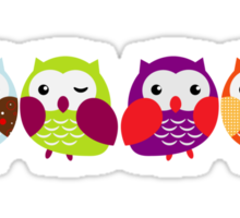 Colorful Owl Couples Sticker