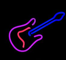 Neon Guitar Print by seansdigitalart