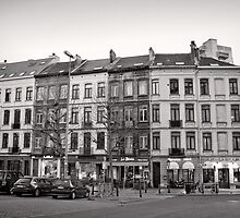 The shops of Place Jourdan - Brussels by Norman Repacholi