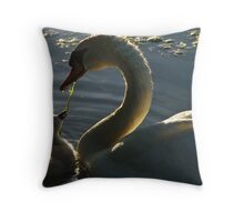 Momma and Baby Swan Throw Pillow